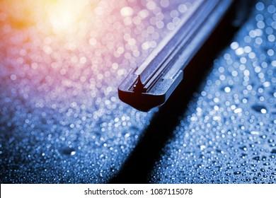 Closeup modern style of car windshield wiper.