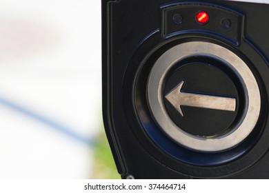 Closeup Of Modern Technology Pedestrian Crosswalk Push Button In Washington D.C. City In Daytime Hours