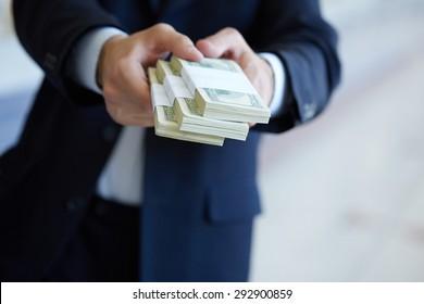 closeup money in male hands