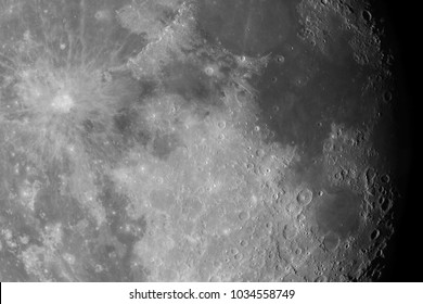Close-up of the Moon surface. Main objects and areas: Mare Nectaris, Theophilus, Mare Fecunditatis, Gutenberg, Capella, Colombo, Tycho, Mare Tranqulitatis, Mare Serenitatis