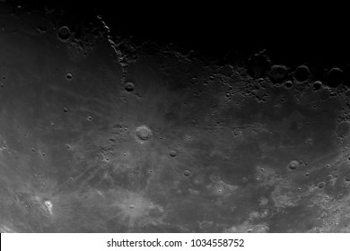 Close-up of the Moon surface. Main objects and areas: Mare Insularum, Copernicus, Eratosthenes, Reinhold, Lambert, Copernicus secondary craters, Fra Mauro, Mare Cognitum, Archimedes, Apennines