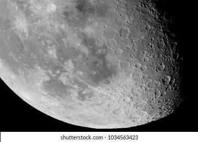 Close-up of the Moon surface. Main objects and areas: Clavius, Longomontanus, Schiller, Wilhelm, Tycho, Maginus, Pitatus, Mare Humorum, Mare Cognitum, Fra Mauro, Mare Insularum, Copernicus, Encke