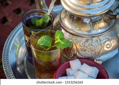 Close-up of Moroccan tea glasses