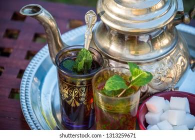 Close-up of Moroccan tea and teapot