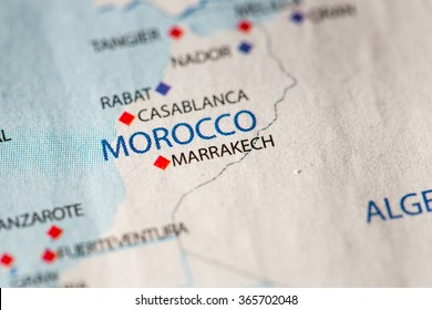Closeup of Morocco on a political map of Africa.