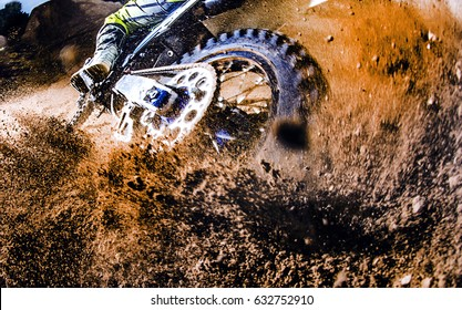 Close-up of motocross wheel
