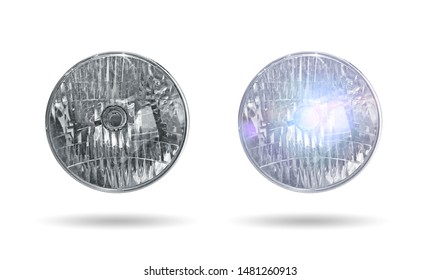 close-up motorcycle headlight isolated in a white background, on and off