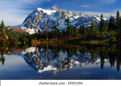Close-up of Mount Shuksan reflected across Picture Lake
