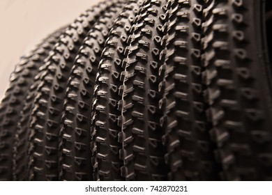 Close-up of mountain bike tires