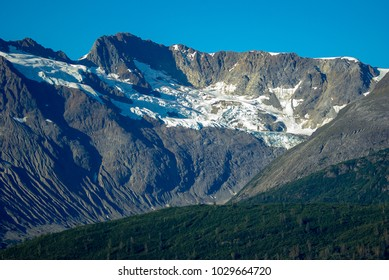 Closeup of mountain and glacier in Alaska