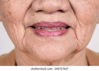 closeup mouth of elderly woman