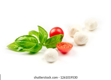 A closeup of Mozzarella cheese balls with fresh basil leaves and cherry tomatoes, the ingredients of the Italian Caprese salad, on a white background with copy space