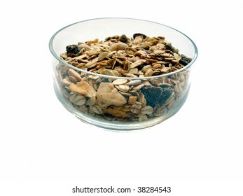 close-up muesli in bowl on white background
