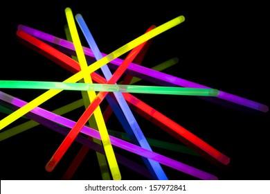 Closeup of multicolor glow sticks