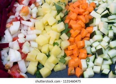 closeup to multicolored chopped vegetables