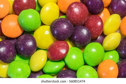 closeup of multicolored skittles candy sweets