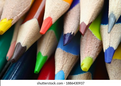 Close-up of multicoloured pencils. Tools for creativity or drawing creative picture. Back to school. Stationery and school supplies. Art and painting concept