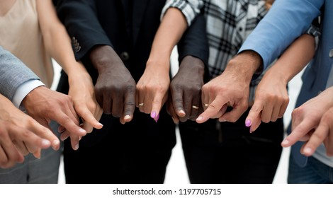 close-up of multi-racial hands