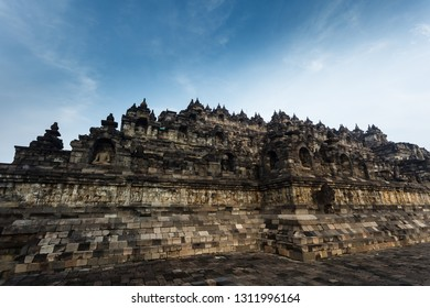 Closeup of the multi-terraced Borobudur Temple 9th-century Mahayana Buddhist temple in Magelang Regency,in Java, Indonesia