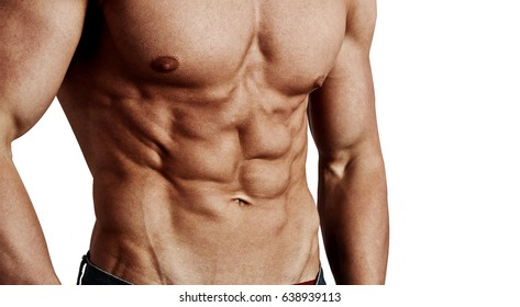 Close-up of muscular male torso isolated on white background. Concept of cross fit workout and bodybuilding.