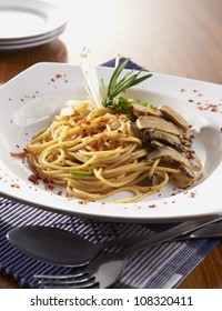close-up with mushroom pasta on table