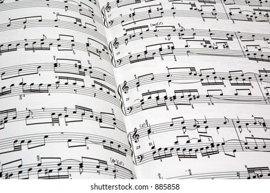 Closeup of music by J.S. Bach.