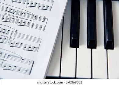 close-up music score on piano keyboard