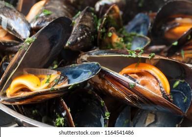 closeup of mussels marinara in a restaurant