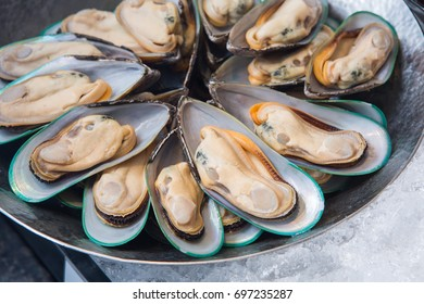 Closeup of mussels on ice, Seafood buffet line in hotel restaurant