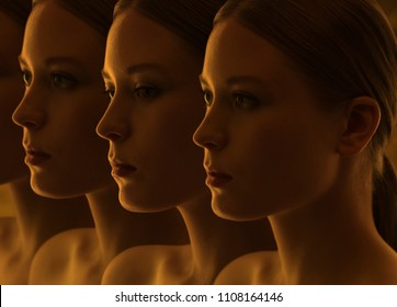 Closeup of the mysterious faces of the girls. Doubts and reflections. Dark group portrait. Replicants or clones