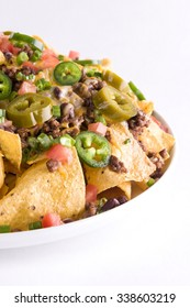 Close-up of nachos on the Grey Background
