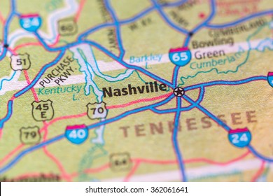 Closeup of Nashville on a geographical map.