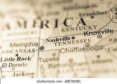 Closeup of Nashville, Tennessee on a political map of USA.