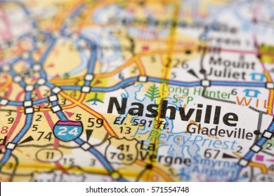 Closeup of Nashville, Tennessee on a road map of the United States.