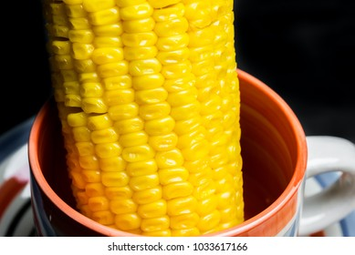 Close-Up Natural Boiled Sweet Corn Isolated