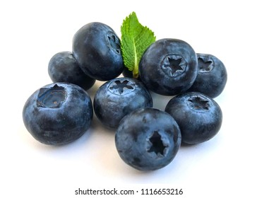 Closeup Natural Organic Blueberries Scattered Isolated on White Background Texture Healthy Food