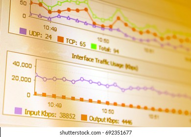 Close-up of a Network monitoring statistics, Network security concept. - Shutterstock ID 692351677
