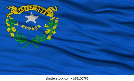 Closeup Nevada Flag on Flagpole, USA state, Waving in the Wind, High Resolution