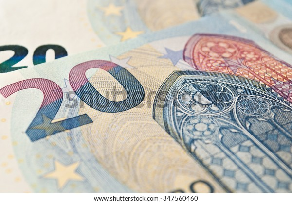 closeup of new banknote of twenty euros