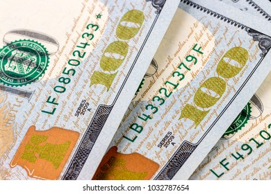 Close-up of new one hundred dollar bills background
