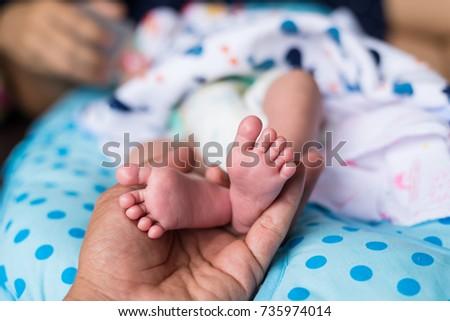 49ca64d91 Closeup Newborn Baby Feet Stock Photo (Edit Now) 735974014 ...