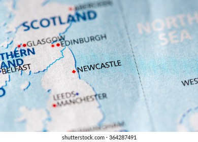 Closeup of Newcastle, UK on a political map of Europe.