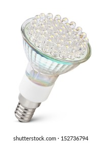 Closeup of newest LED light bulb isolated on white with clipping path