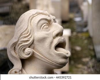 Closeup of newly carved gargoyle face for York Minster