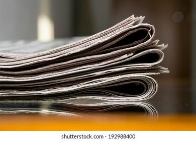 Closeup of newspapers
