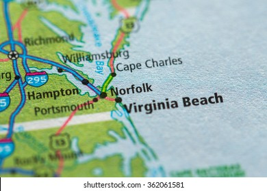 Closeup of Norfolk on a geographical map.