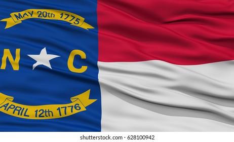 Closeup North Carolina Flag on Flagpole, USA state, Waving in the Wind, High Resolution
