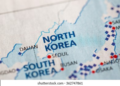 Closeup of North Korea on a geographical map.