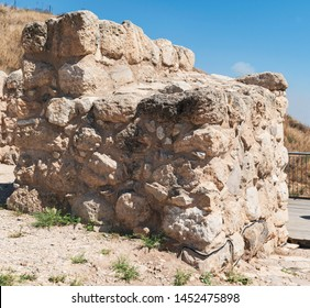 closeup of the northwest stone tower at the entrance to the tel lackish archaeological site in central israel