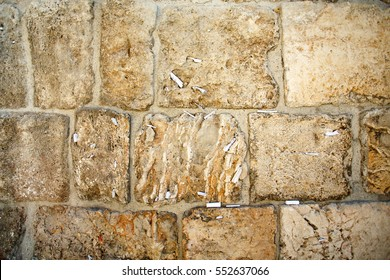 Close-up of notes to God in the Western Wall in Jerusalem, Israel